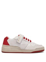Saint Laurent Travis Perforated Low Top Leather Trainers Red White