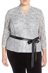 Plus Size Women's Alex Evenings Sequin Lace Blouse With Ribbon Belt