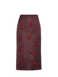 Rochas Glove Embellished Satin Pencil Skirt
