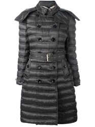 Burberry Double Breasted Parka Coat Brown