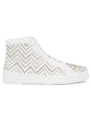 Philipp Plein Bicycle Mid Top Sneakers Men Leather Metal Rubber 42 White