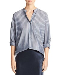 Vince Wide Stripe Mandarin Collar Pullover Shirt Blue