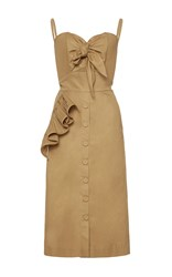 Johanna Ortiz Soledad Bow Front Pencil Dress Brown