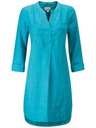 Pure Collection Linen Striped Pocketed Dress Teal
