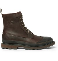 Sorel Madson Waterproof Leather And Rubber Boots Brown
