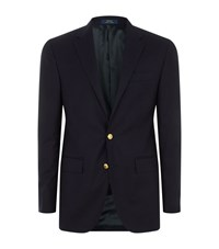 Polo Ralph Lauren Single Breasted Gold Button Blazer Male Navy
