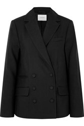 Frame Double Breasted Wool Blazer Black
