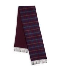 Saks Fifth Avenue Plaid Merino Wool And Cashmere Scarf Burgundy Grey Blue