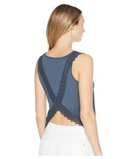 Miss Me Run Away With Lace Back Tank Top Navy Sleeveless