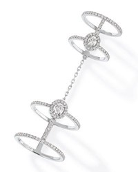 Messika Glam'azone Chain Linked Diamond Ring In 18K White Gold