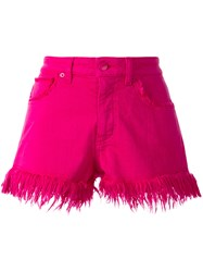 Love Moschino Frayed Hem Denim Shorts Pink Purple