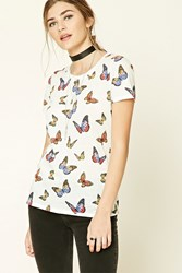 Forever 21 Butterfly Print Tee Cream Multi