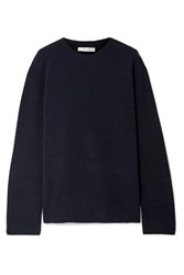The Row Sibel Oversized Wool And Cashmere Blend Sweater Midnight Blue