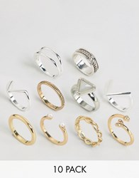 Glamorous Mixed Media Layering Rings Mixed Metal Multi