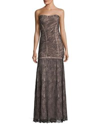 Herve Leger Strapless Lace Overlay Evening Gown Black Pattern