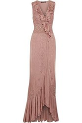 Roberto Cavalli Wrap Effect Ruffled Pointelle Knit Gown Antique Rose