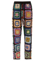 Ashish Sequinned Patchwork Crochet Trousers Multi