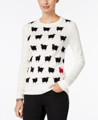Charter Club Sheep Graphic Sweater Only At Macy's Vanilla Bean Combo