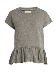 The Great Peplum Hem Distressed Jersey T Shirt Grey