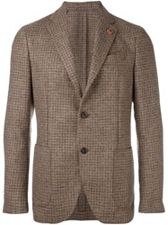 Lardini Checked Blazer Brown