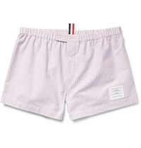Thom Browne Striped Cotton Oxford Boxer Shorts Red