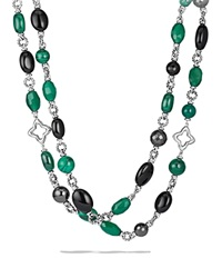 David Yurman Bead Necklace With Black Onyx And Green Onyx Silver Multi