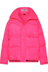 Vetements Hooded Quilted Shell Down Coat Pink
