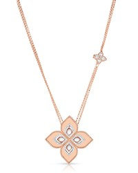 Roberto Coin Venetian Princess 18K Rose Gold Mother Of Pearl Cutout Necklace With 1.2 Pendant