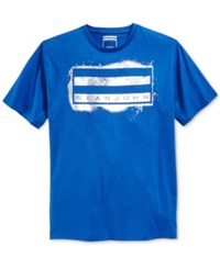 Sean John Men's Spray Flag Graphic Print T Shirt Blue