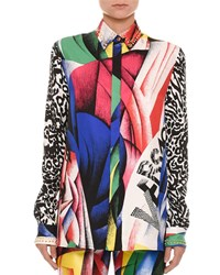 Versace Clash Print Button Front Long Sleeve Silk Blouse Multi
