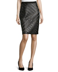 Catherine Catherine Malandrino Faux Leather Mesh Inset Pencil Skirt Black