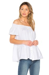 Red Valentino Off The Shoulder Button Up Top White