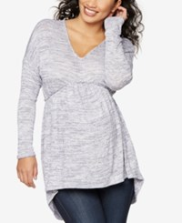 A Pea In The Pod Maternity V Neck Tunic Heather Light Blue