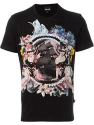 Just Cavalli Pin Up Girl Print T Shirt Black
