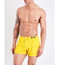 Moschino Logo Print Swim Shorts Yellow