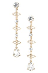 Treasure And Bond Crystal Station Linear Drop Earrings Clear Gold