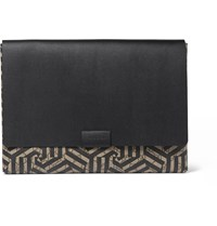 Gucci Geometric Print Textured Leather Pouch Brown