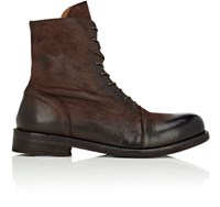 Barneys New York Men's Leather Lace Up Ankle Boots Dark Brown