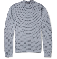 Dolce And Gabbana Polka Dot Silk Sweater Gray