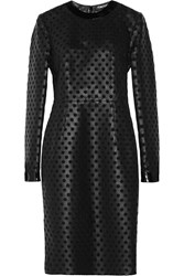 Tom Ford Laser Cut Leather And Silk Organza Midi Dress