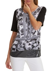 Betty Barclay Print And Sequin Tunic Top Black White