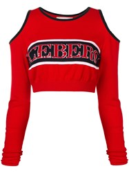 Iceberg Logo Knitted Cropped Top Red
