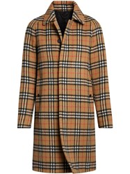 Burberry Vintage Check Alpaca Wool Car Coat Yellow And Orange