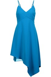 Alice Olivia Beth Draped Asymmetric Crepe De Chine Dress Azure