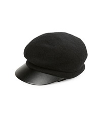 August Hats Leatherette Trimmed Newsboy Cap Black