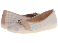 Naturalizer Kiara Pearl Grey Nubuck Ginger Snap Leather Women's Flat Shoes White