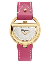Salvatore Ferragamo 37Mm Buckle Watch W Diamonds And Leather Strap Pink
