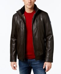 Calvin Klein Men's Faux Leather Faux Fur Lined Jacket A Macy's Exclusive Style Heritage Brown