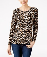 Charter Club Animal Print Long Sleeve Top Only At Macy's Deep Black Combo
