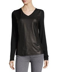 P. Luca V Neck Snake Embossed Faux Leather Tee Black